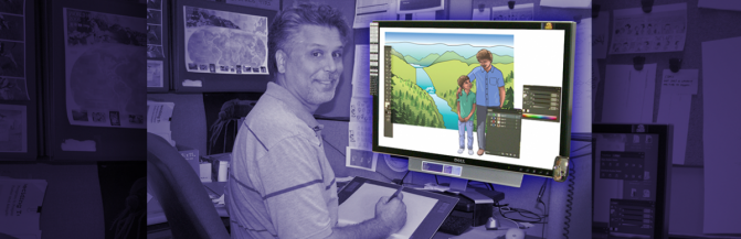 Designer completing an image's background using a digital tablet and computer
