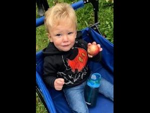 A 1 year old boy holding a freshly picked apple
